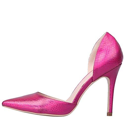 fereshte Women's Animal Print Closed Toe Slip On D-orsay Shoes Lizard Rose wAj6hR
