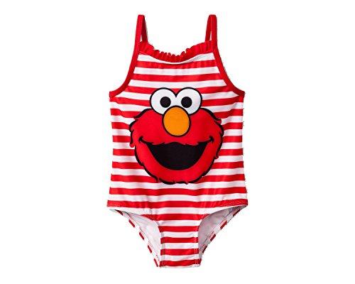 Sesame Street Elmo Little Girls' Toddler One Piece Swimsuit (5T)