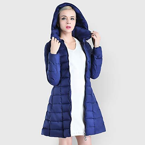Donna Cerniera Cappotto Monocromo Tasche Invernali Autunno Incappucciato Piumino Anni Casual Alla Giacca Laterali Con 20 Blue Eleganti Moda Navy Trapuntata Trapuntato 5q5WrwB4