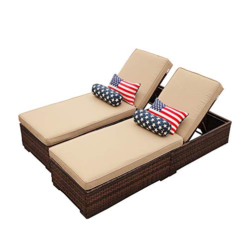 (Super Patio Outdoor Adjustable Pool Wicker Rattan Chaise Lounge Chair Steel Frame, Beige Cushions, Brown PE Wicker,Set of 2)