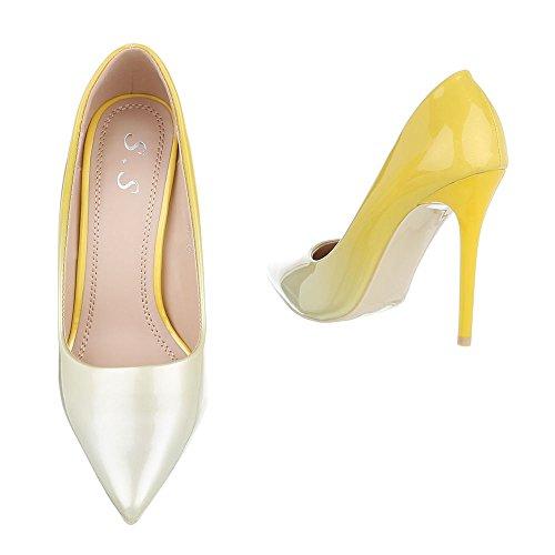 Ital-Design High Heel Pumps Damenschuhe Pfennig-/Stilettoabsatz Heels Gelb 5015-60J