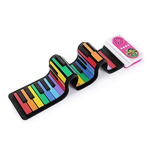 aPerfectLife Roll Up Keyboard Piano, Rainbow Color 37 Standard Keys Flexible Kids Piano Keyboard with Inbuilt Speaker Educational Toy Perfect Gift for (Demo Keypad)