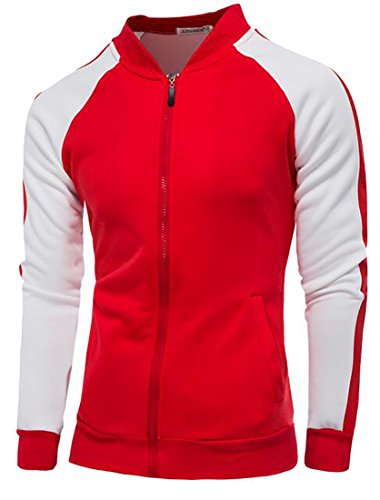 tescous Mens Classic Collar Collar Fashion Casual Loose Baseball Sweatshirt 6 M (Michael Jordan Michael Jackson)