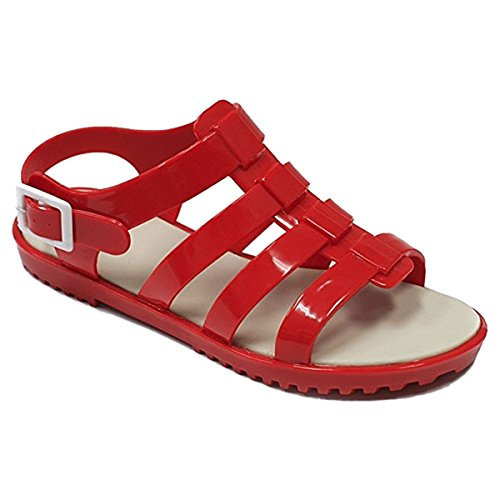 Clearance Sale 2018 Jolly Most Popular Fun Nice Red Plastic Jelly Strap Round Toe Rubber Low Flat Heel Top Comfortable Retro With Single Buckle Caged Sandal Shoe For Her Women - Popular Designer Most