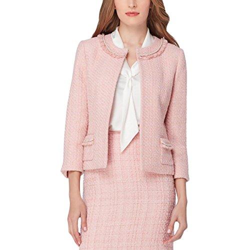 Tahari ASL Womens Tweed Embellished Tweed Jacket Pink 8