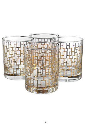 - Set 4 Tumbler 12oz Art Deco Gold Chain Cocktail Double Old Fashioned Glasses