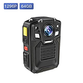 Body Worn Camera with Audio,1296P UHD, Waterproof, 2 Inch Display, Two Replaceable Batteries, Night Vision, Shockproof, IP68, 170° Wide Angle, CAMMHD Police Cameras (Built-in 64GB)