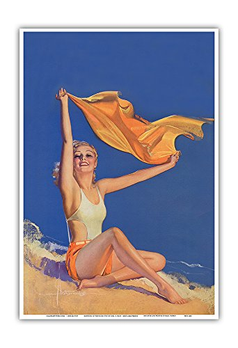 Sunshine - Pin Up Glamour Girl - Originally Painted for Cover of July 1931 College Humor Magazine - Vintage Pin Up Calender Page by Rolf Armstrong c.1931 - Hawaiian Master Art Print - 13 x 19in