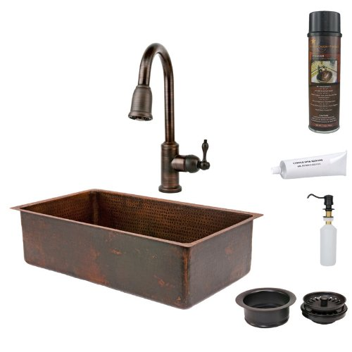 Premier Copper Products KSP2_KSDB33199 33-Inch Hammered Copper Kitchen Single Basin Sink with Pull Down Faucet, Oil Rubbed Bronze (33 Inch Copper Hammered Kitchen)