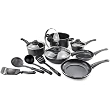 GreenLife CW001923-004 Diamond Healthy Ceramic Nonstick Dishwasher Safe Oven Safe Stay Cool Handle Pots and Pans, 14-Piece, Black