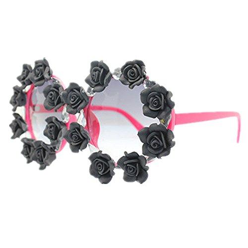 Lady Wenjack de à Soleil polarisées Rayures Ultra UV de Summer Lunettes Rondes Retro Femmes Lunettes Noir Fleurs Soleil Les à Handmade légères r7ZBqr