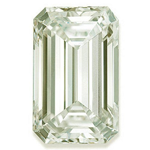 RINGJEWEL 6.01 ct VS1 Emerald Cut Real Loose Moissanite Use 4 Pendant/Ring Off White Light Green Color