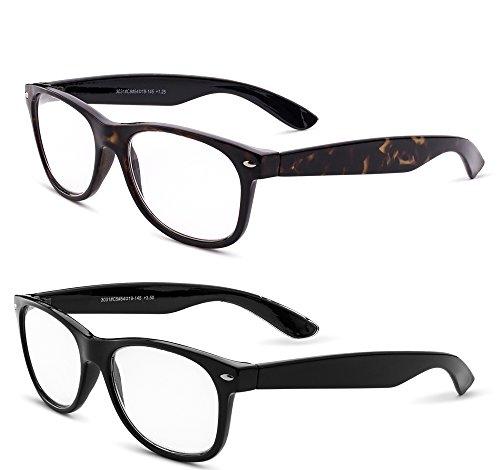 Specs Wayfarer Reading Glasses (Shiny Black and Shiny Havana) +1.75 2-Pack -