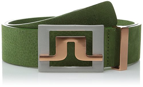 J.Lindeberg Men's Slater Brushed-Leather Belt, Green, 80