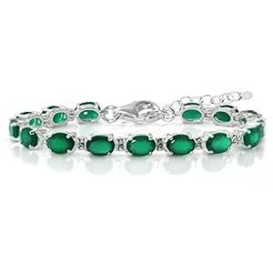 "9.9ct. Natural Emerald Green Agate&White Topaz 925 Sterling Silver 6-7.5"" Adjustable Tennis Bracelet"