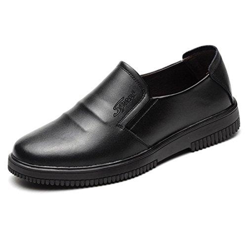 Cordones Sin Negro Clásico Oficina de Zapatos Jiyaru Hombre Mocasines Casual Cómodo Trabajo qaxB7