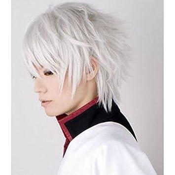 QQXCAIW Short Silver White Gintama Sakata Gintoki Heat Resistant Cosplay Wig