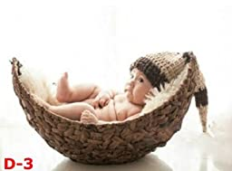 Newborn baby infant photography prop handmade woven basket D-3