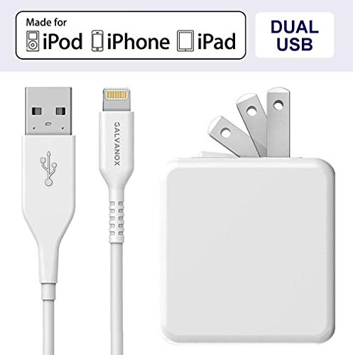 Galvanox (Apple MFi Certified) iPhone Charger Cable (5ft) with 17W Power Adapter - Lightning to USB Charging Cord Plus Dual USB-Port Wall Plug (for iPhone 7/8/X/XR/XS Max) (Best Wall Plugs For Brick)