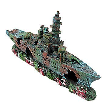 Resin Boat Vessel Ornament Decoration for Fish Tank Cave Liberty Wreck Decorate Your Fish Tank 230 X 110 X 40mm