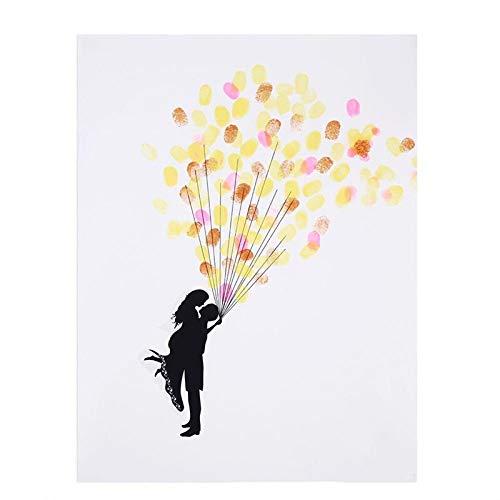 Decorative Prints - Fingerprint Signature Canvas Print Wedding Tree Gift Diy Decoration Guest Thumb With 6 Ink Colors - Huskers Turtle Vogue Prints Plant Golden Bridge Flowers Barns Snake Trees