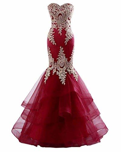 Embroidery Satin Evening Dress - 9