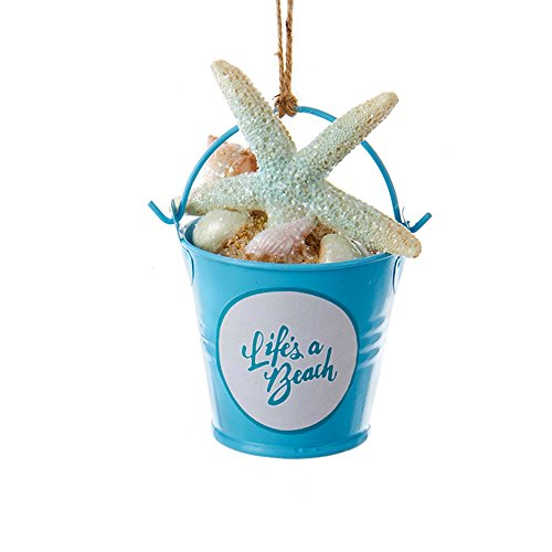 Sand Bucket Ornament with Lifes a Beach