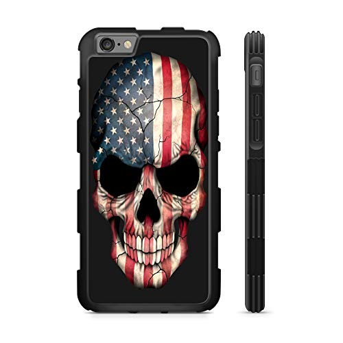 - 407Case Compatible with iPhone 6/6s American Flag Skull Hyper Shock Protective Rubber TPU Phone Case (iPhone 6/6s)