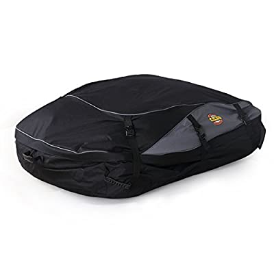 SPAuto Car Cargo Roof Bag - Waterproof Duty Car Roof Top Carrier - Easy to Install Soft Rooftop Luggage Carriers with Wide Straps - Folds Easy