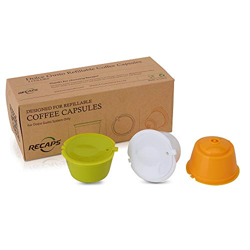 RECAPS BPA Free Refillable Reusable Coffee Capsules Pods Compatible wi