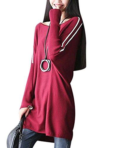Youlee Mujer Cuello redondo A rayas Suéter de talla grande Rojo