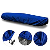 iiSPORT Kayak Cover - 13.5ft-15ft UV Resistant StormPro Waterproof Canoe Storage Dust Cover with Pull Cord to Tighten Up, Prolonging The Life & Look of Your Kayaks,Dark Blue