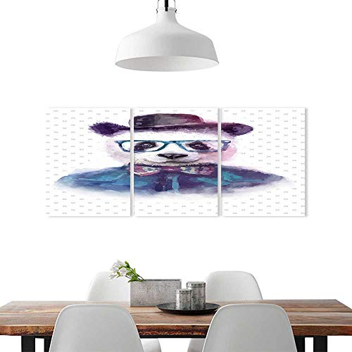 Cheery-Home Triptych Combination Decorative Painting Frameless W24 x H36/3P Wall DecorFunny Decor Vintage Hipster Panda Bow Tie Dickie Hat Horn Rimmed Glasses Watercolor Style Print Black Blue.