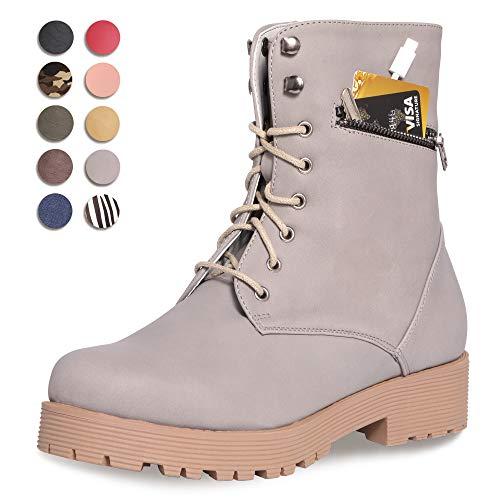 (CINAK Military Combat Boots for Women- Winter Autumn Comfort Outdoor Waterproof Martin Booties Mid-Calf Shoes (5.5-6B(M)US/CN37/9.2'', Dark Grey))