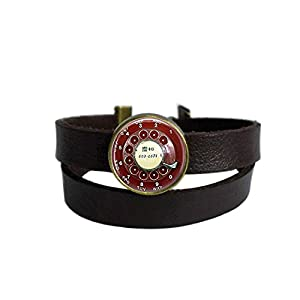 LAROK WAZZIT Two Layers Design Dark Brown Leather Cuff Bangle Steampunk Red Telephone Dial Vintage Phone Rope Wristband Bracelet with Glass Pendant