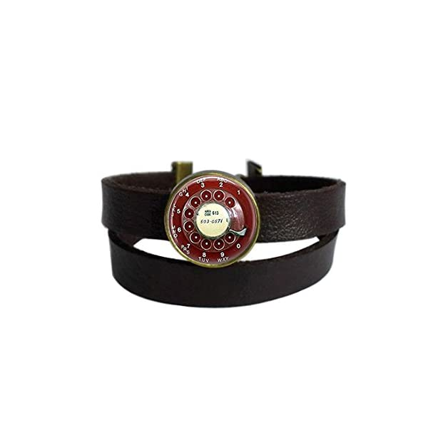LAROK WAZZIT Two Layers Design Dark Brown Leather Cuff Bangle Steampunk Red Telephone Dial Vintage Phone Rope Wristband Bracelet with Glass Pendant 3