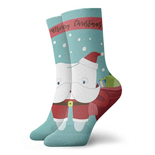 SARA NELL Novelty Funny Crazy Crew Sock Merry Christmas of Dental with Santa Claus Tooth Printed Sport Athletic Socks 30cm Long Personalized Gift Socks