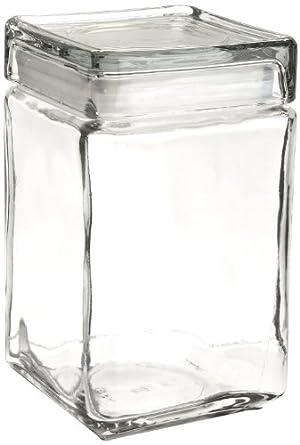 Amazoncom Oneida 85588R Stackable Square Glass Jar wGlass Lid
