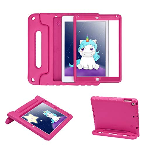 HDE Case for iPad 9.7-inch 2018 / 2017 Kids Shockproof Bumper Hard Cover Handle Stand with Built in Screen Protector for New Apple Education iPad 9.7 Inch (6th Gen) / 5th Generation iPad 9.7 Hot Pink
