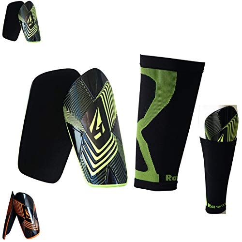 Soccer Shin Guards Extreme Armour Foam High Absorbtion Impact Protection with Compression Sleeve,Men Women Fit Height Range 5.9''~6.5''