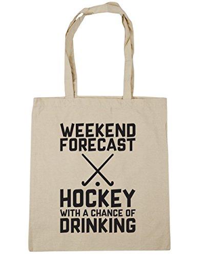HippoWarehouse Wochenenden Forecast Hockey Mit a Chance of Trinken Einkaufstasche Fitnessstudio Strandtasche 42cm x38cm, 10 liter - Natürlich, One size