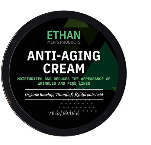 Anti-Aging Cream for Men - Ethan Men's. Natural and Organic Anti Wrinkle Night Cream to Reduce Appearance of Fine Lines, Crow's Feet. 1-Year Guarantee (2oz)