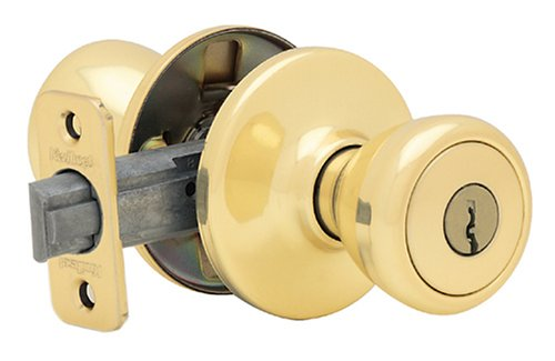 Kwikset 400T 3 CP Security Tylo Entry Knob, Polished Brass
