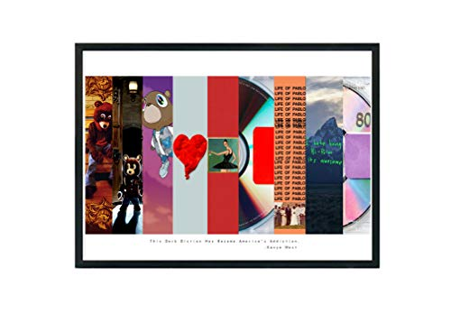 Custom Kanye West Art Collage Poster,TLOP Pablo Song Lyric Quote Digital Print 12x18 Living Room Bed Room Art (FRAME NOT - White Album T-shirt