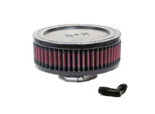K&N RA-0550 Universal Clamp-On Air Filter: Round Straight; 2.063 in (52 mm) Flange ID; 2 in (51 mm) Height; 5.5 in (140 mm) Base; 5.5 in (140 mm) Top
