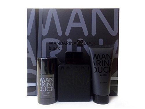 Mandarina Duck Black Gift Set for Men 3.4 oz EDT Spray + 3.4 oz Shower Gel + 2.5 oz Deodorant Stick