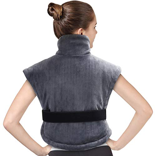 "Magnetic Heating Pad - Tech Love XL Extra Large Electric Heating Pad for Neck Shoulder and Back Pain Relief with Fixation Strap Moist/Dry Heated Pad with Auto Shut Off 24"" x 25"" - Charcoal Gray"