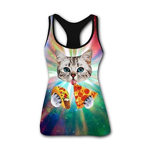 Womens Tank Tops Creative Taco Funny Cat Casual 3D Vest Sleeveless Shirt