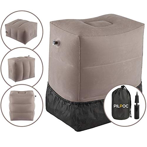 PILPOC Inflatable Foot Rest Pillow for Kids Travel, Airplane Footrest, Inflatable Leg Pillow Fly Legs Up, Premium Quality PVC Flocking Ottoman, Air Pump, Dust Cover, Smart Valve, Easy to Inflate