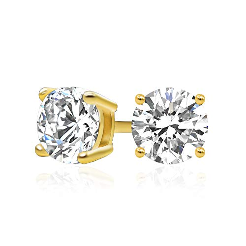 14k Yellow Gold Plated 925 Sterling Silver Cubic Zirconia Classic Basket Prong Set Eternity Stud Earrings, 5mm
